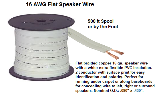 500 ft 16 awg flat speaker wire white