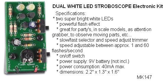 Kits by velleman elenco do it yourself electronic project 28000 28 dual white led mini strobe electronic kit solutioingenieria Gallery