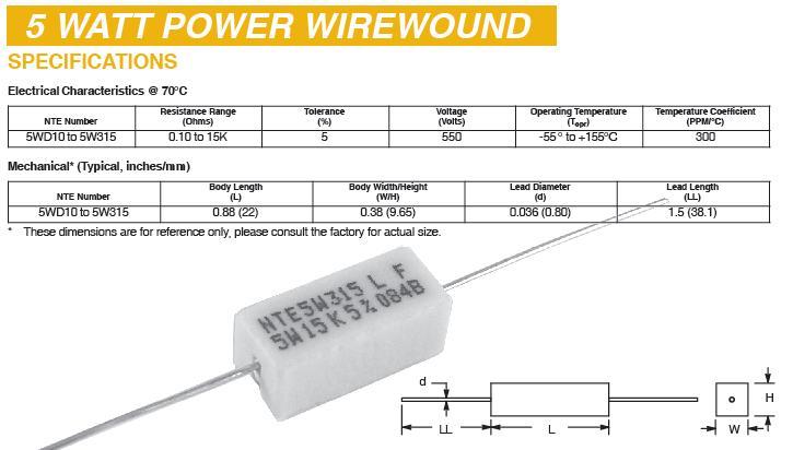Resistors 5 Watt Wirewound Ceramic Type 13000 13
