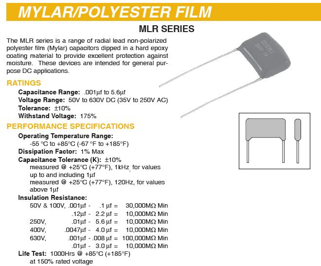 Capacitors Mylar Polyester Film 100 And 630 Volts