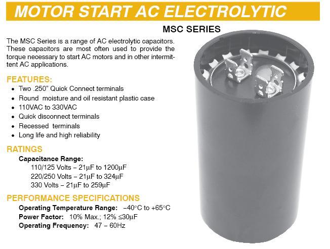 Capacitors Motor Start 11500 11