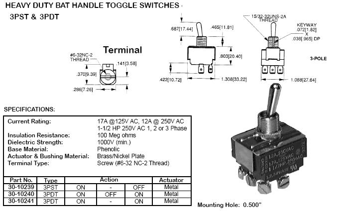 3pdt ( on-off-on ) 17amp heavy duty toggle switch