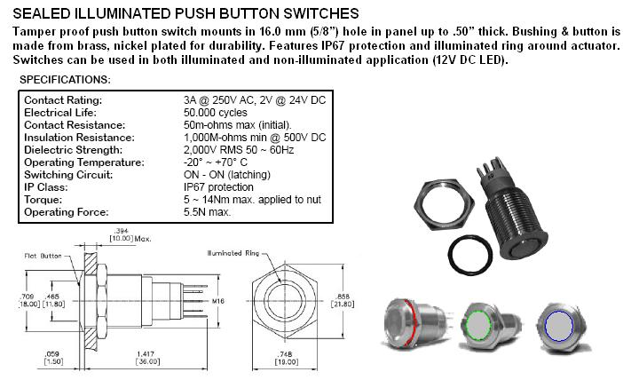 Switches Lighted and Illumunated 2250022 – Lighted Momentary Switch Wiring Diagram