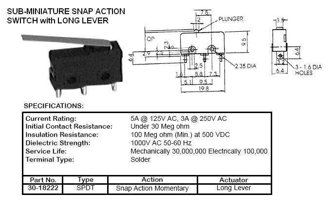 switches snap action roller and lever 22900 22 rh cablesandconnectors com Rocker Switch Limit Switch