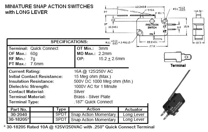 switches snap action roller and lever 22900 22 rh cablesandconnectors com Omron Switches Limit Switch