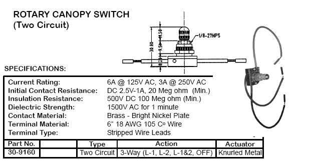 DP4T ROTARY CANOPY SWITCH  sc 1 st  Cables and Connectors & Switches - Specialty and Rotary - 22800-22