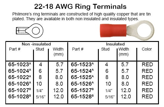 """Gold 18-16 AWG 1//4/"""" Female Disconnect 5 Pair"""