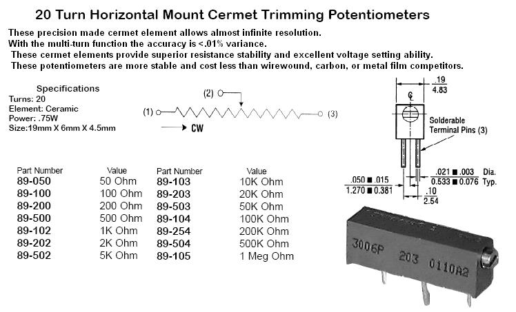 Potentiometers audio linear 03100 03 100 ohm 20 turn horizontal mount cermet trimming potentiomet swarovskicordoba Gallery