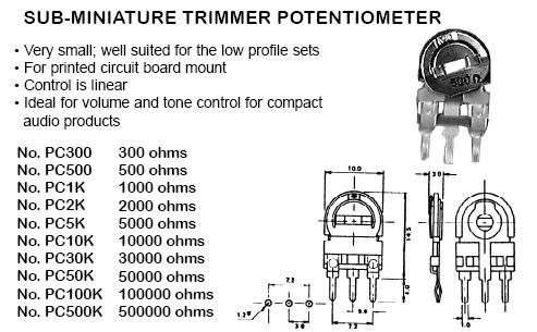 Potentiometers audio linear 03100 03 100k ohms sub miniature trimmer potentiometer 2 pk cheapraybanclubmaster Image collections