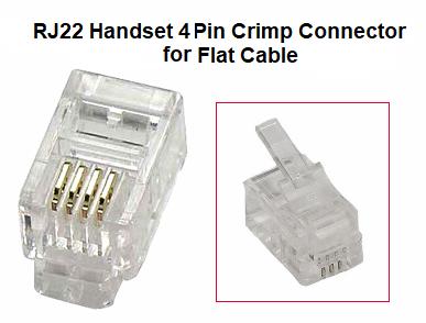 Telephone connectors adapters 02300 02 10pk 4 pin rj22 handset telephone type connectors publicscrutiny Choice Image