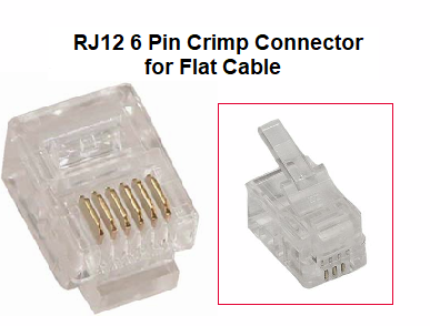 100pk rj12 6 pin crimp connector for flat cable