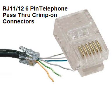 10pk ez-rj11/12 6 pintelephone pass thru crimp-on connectors