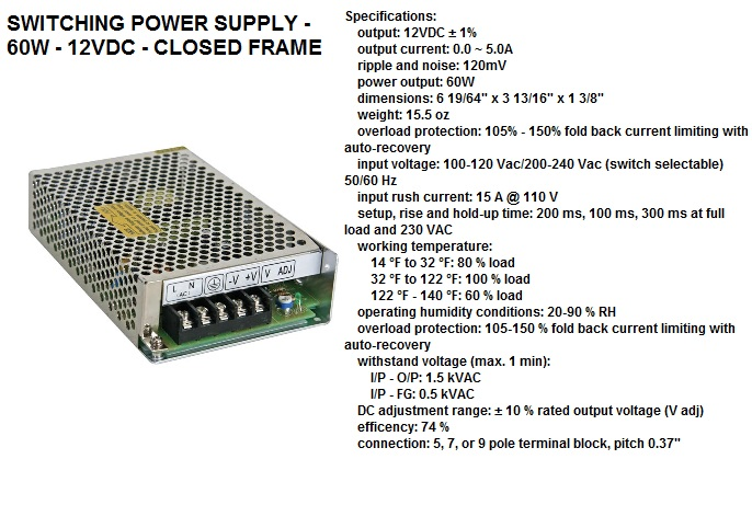 psin06012n ac dc power adapters and transformers 06800 06  at n-0.co